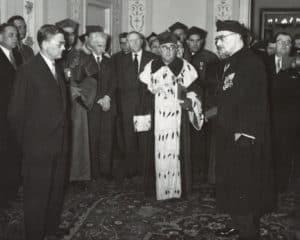 1958 rok. Otwarcie wystawy na jublieusz inauguracji Uniwersytetu Warszawskiego