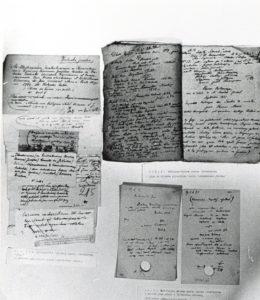 Luźno rozłożone kartki z odręcznymi notatkami i zapisami Karola Estreichera.